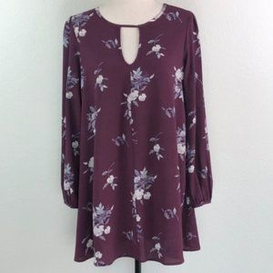 Mimi Chica Floral Keyhole Long Sleeve Dress M